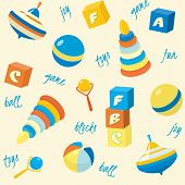Seamless pattern with basic toys
