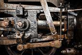 Grunge old steam locomotive wheels