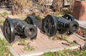 two cannon guns replica on the Rostov on Don street