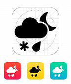 Sleet at night weather icon.