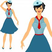 Beautiful pin up sailor girl 1950s style.