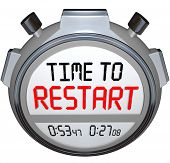 Time to Restart on a stopwatch or timers to illustrate a redo, rebuild, refresh, renew, revitalizati