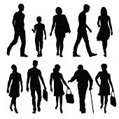 stock photo of pedestrians  - silhouettes of people in different poses - JPG