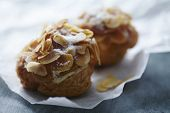 Fresh Choux pastry with creme and almonds