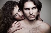 stock photo of flowing hair  - love vampires in studio - JPG