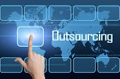 image of offshoring  - Outsourcing concept with interface and world map on blue background - JPG