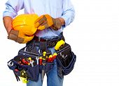 Worker with a tool belt. Isolated over white background.