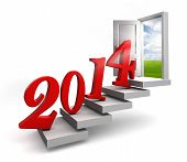 New Year 2014 Entering Door Steps
