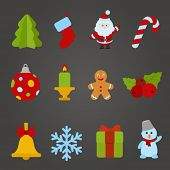 Christmas vector flat design icon set. Happy new year theme collection. Christmas tree, Santa Claus,