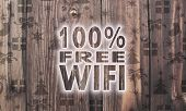 Wooden 100 Percent Free Wifi Label With Presents