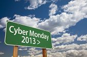 Cyber Monday 2013 Green Road Sign with Dramatic Clouds and Sky.