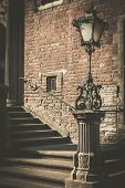 Steps with vintage lamppost in Gdansk, Poland