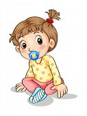 Illustration of a toddler with a pacifier on a white background