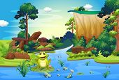 Illustration of a frog playing at the river near the cliff