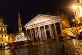Pantheon - NOVEMBER 15 : Night photo of Pantheon monument, November 15, 2013 in Rome, Italy