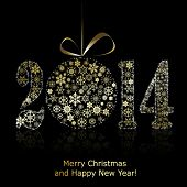 New 2014 year symbol on black background. Christmas greeting card. Vector eps10 illustration