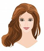 Girl With Long Brown Hair With Brown Eyes Portrait.eps