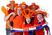 Group Of Dutch Soccer Fans Over White Background