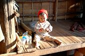 Little Karen tribe girl in mountain village, Mae Hong Son