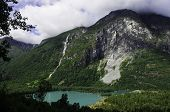 pic of landslide  - Waterfall and landslide above a turquoise lake in Briksdalen - JPG