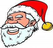 Cartoon smiling Santa head. Isolated on white