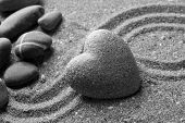 image of pumice stone  - Grey zen stone in shape of heart - JPG