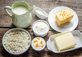 picture of milk products  - Various forms of milk products in the containers - JPG