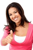 foto of thumbs-up  - Beautiful casual woman with thumbs up isolated - JPG