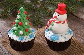 Two Christmas cupcake