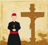 Priest Prays By The Cross, Grunge Background