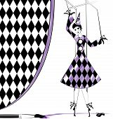 image of mummer  - fantasy hand puppet Pierrette and brush with purple paint - JPG