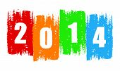 New Year 2014 In Drawn Colorful Banner