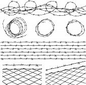 image of barbed wire fence  - Some barbed wire elements with fence and a barbed wire seamless module in a separate layer - JPG