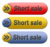 short sale button or icon reduced prices sales banner