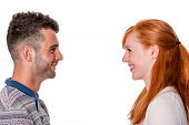 Couple In Profile Smile At Each Other