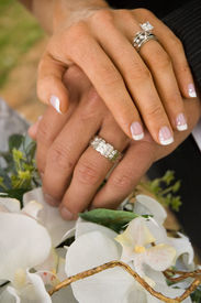 image of marriage ceremony  - Two hands after the ceremony