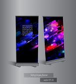 Roll up banner display, vector