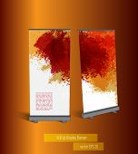 Roll-up display with stand banner template design, vector illustration.