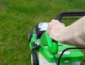 Male Gardener Mowing The Lawn