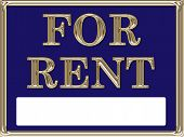For Rent Real Estate Sign Gold