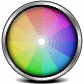 illustration of a metal framed color wheel, eps10 vector, gradient mesh included