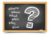 Where, When, What, Who, Why, How? written with Chalk on Blackboard, eps10 vector, gradient mesh included