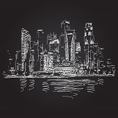 Singapore skyline at night Vector sketch