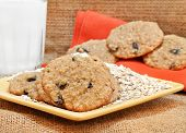 Oatmeal Raisin Cookies With Milk.