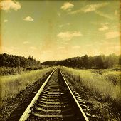 Image of railroad in grunge and retro style.