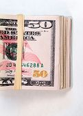 Folded Wad Fifty Dollar Bills American Money Cash Tender