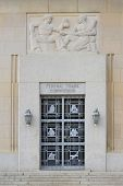WASHINGTON, DC - APRIL 20, 2014: Gate to The Federal Trade Commission Building. The mission of the FTC is the promotion of consumer protection and prevention of anticompetitive business practices
