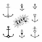 Set of seven hand drawn anchors