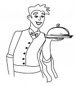 Cartoon Waiter - Funny Doodle Illustration