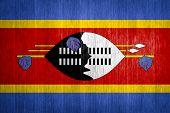 Swaziland Flag On Wood Background